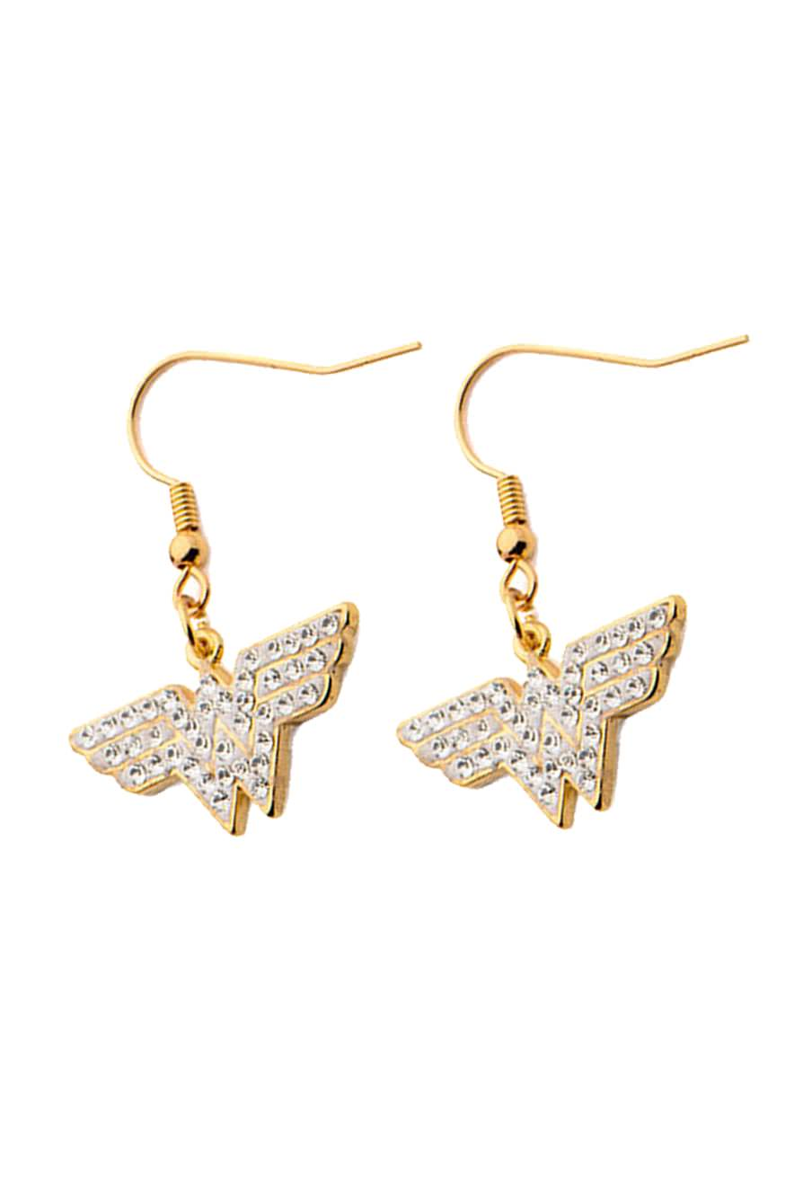 dc comics wonder woman earrings in gold or silver plated. Black Bedroom Furniture Sets. Home Design Ideas