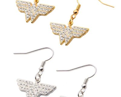DC Comics Wonder Woman Earrings in Gold or Silver Plated Stainless Steel with Crystals