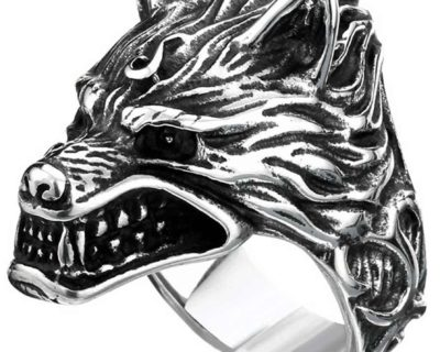 Game of Thrones Inspired Stainless Steel Direwolf Ring from House Stark of Winterfell