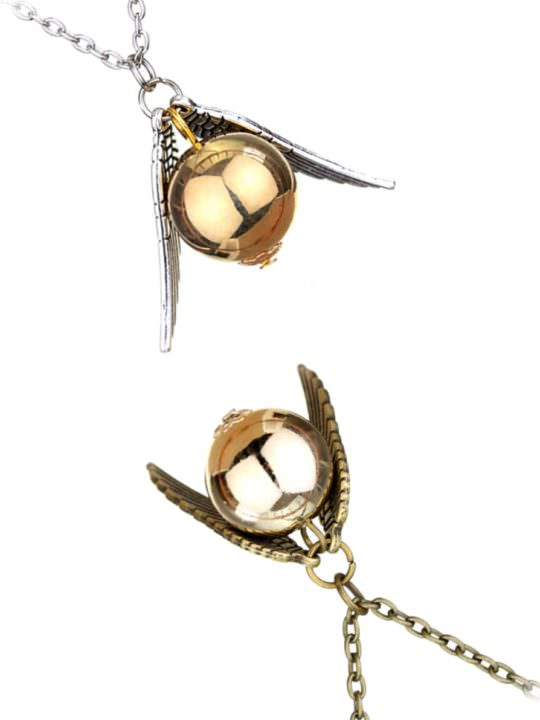 Vamers Store - Jewellery -  Golden Snitch pendant and necklace inspired by Harry Potter - Vintage - Silver and Gold and Bronze and Gold