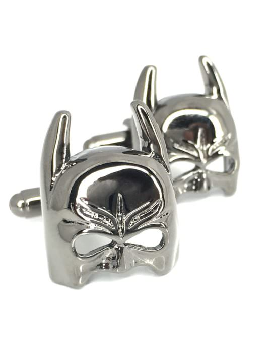 Vamers Store - Merchandise - Geek Chic - Accessories - Cufflinks - Batman Cowl Cufflinks inspired by Batman and DC Comics - Chrome Black - 01