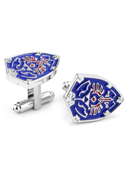 Vamers Store - Merchandise - Geek Chic - Accessories - Cufflinks - Hylian Shield Cufflinks inspired by the Legend of Zelda - Triforce - Enamel and Silver - 01