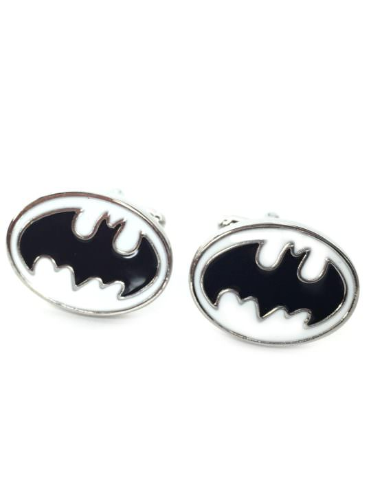 Vamers Store – Merchandise – Geek Chic – Accessories – Cufflinks – Batman Inspired Sloped Bat Symbol Cufflinks (White) – 03