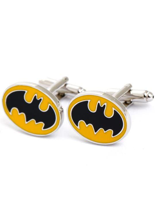 Vamers Store - Merchandise - Geek Chic - Accessories - Cufflinks - Batman Inspired Sloped Bat Symbol Cufflinks (Yellow) - 04