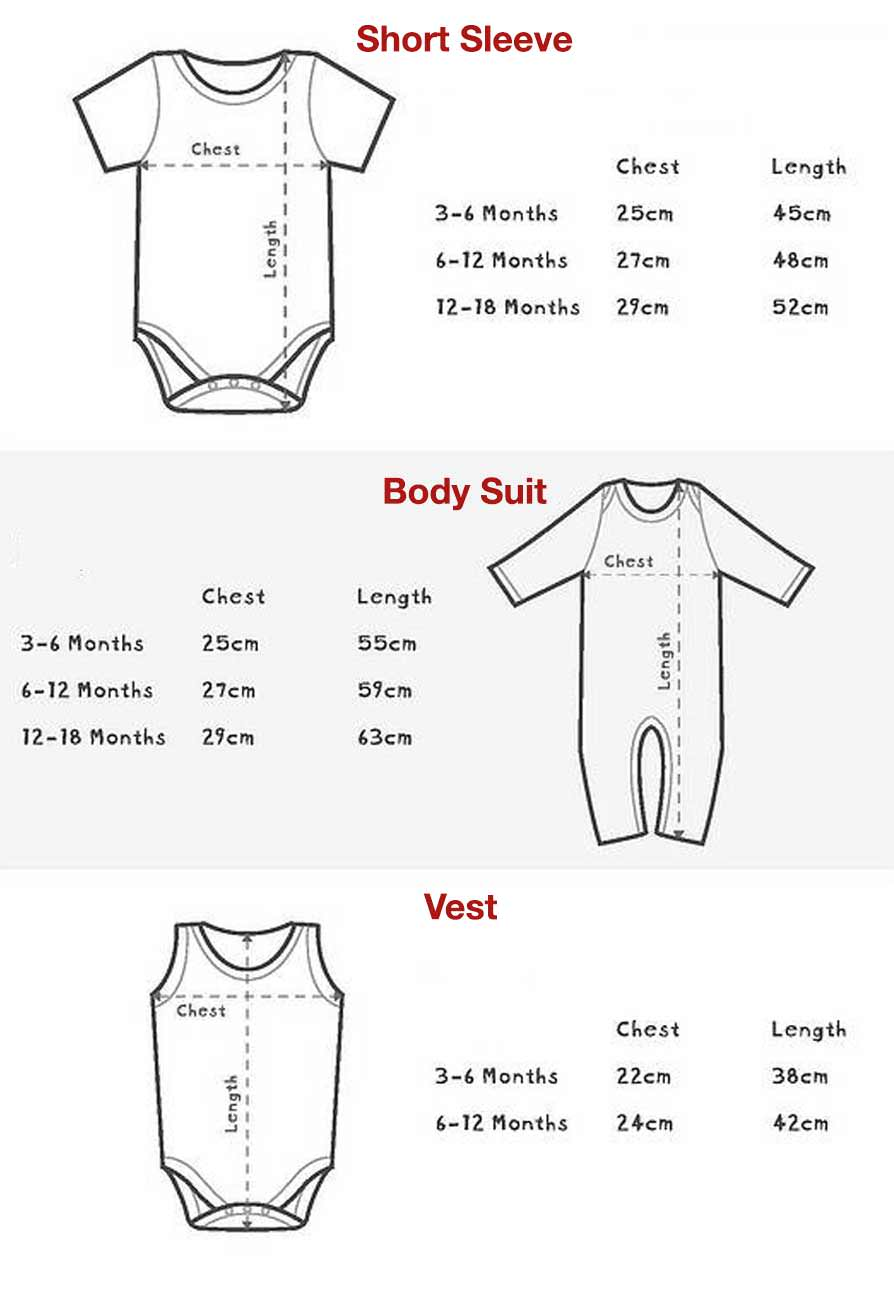 Vamers Store - Apparel - Size Guide - Baby Clothing