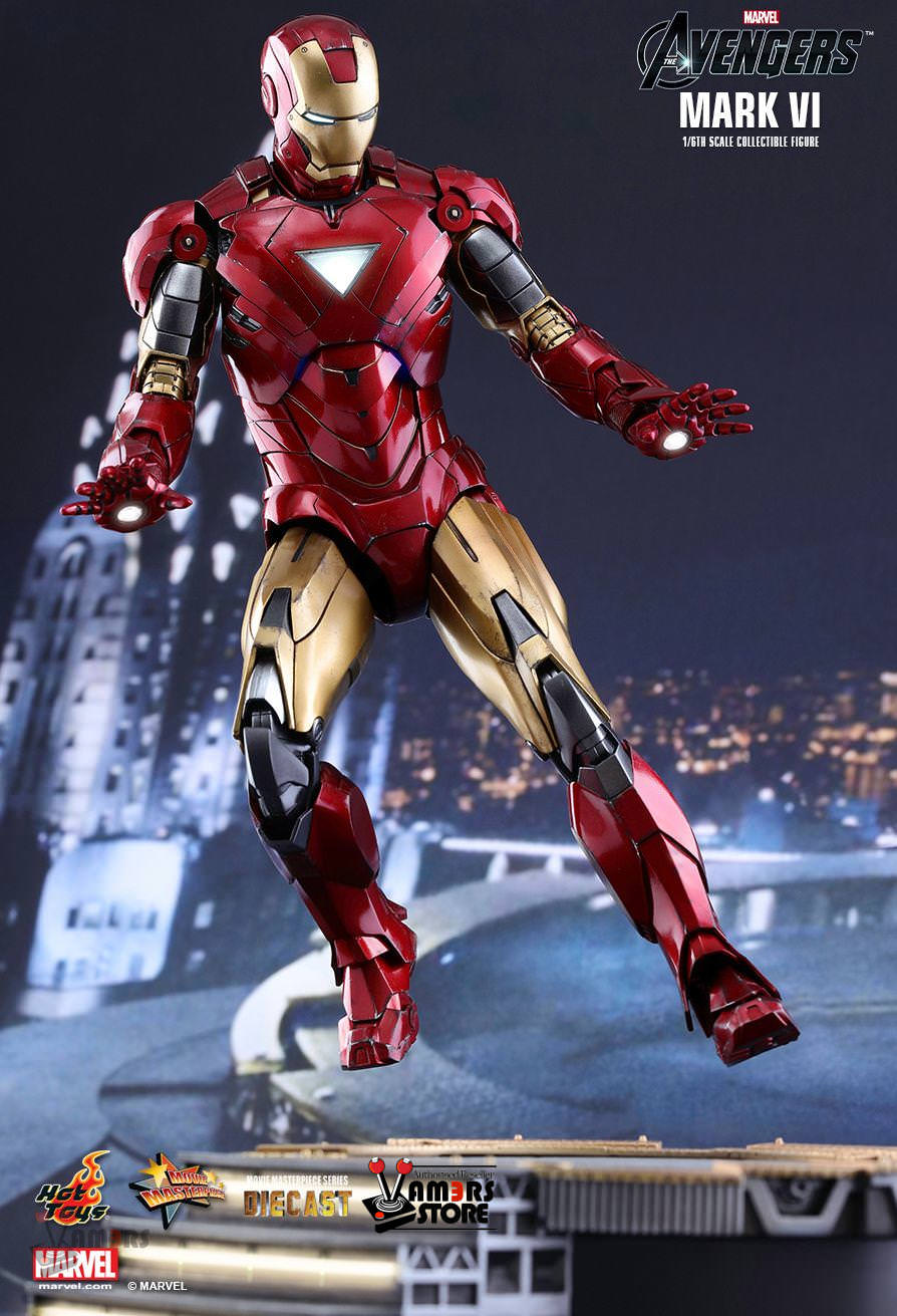 hot toys diecast iron man mark vi from marvel's avengers (mms378d17)